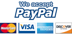 We accept PayPal, Visa, mastercard, American Express, Discover